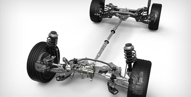 MacPherson front strut suspension and independent multilink rear suspension
