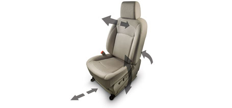 6-Way Adjustable Driver's Seat With Adjustable Steering Wheel and Seat Belt