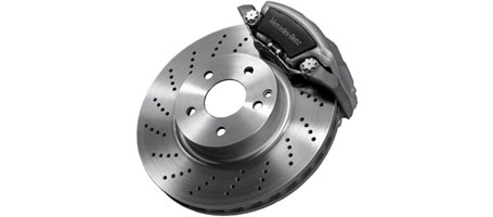 Perforated Front Brake Discs With Painted Calipers