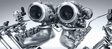 Hot inside V Turbocharger Configuration